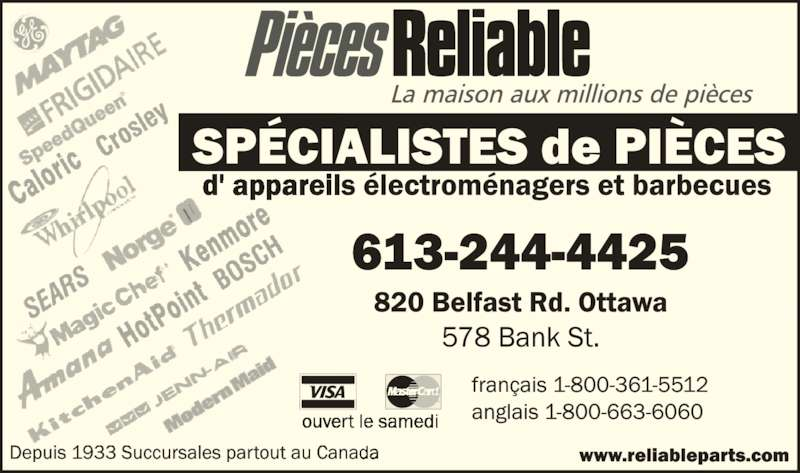 Reliable Parts (613-244-4425) - Annonce illustrée======= -