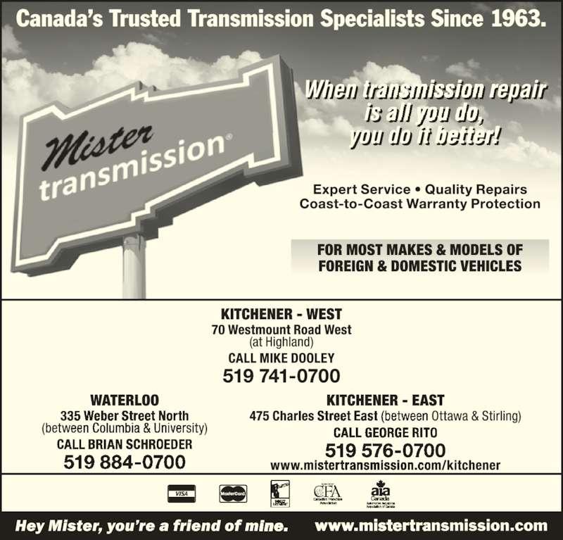 Mister Transmission (519-741-0700) - Display Ad -
