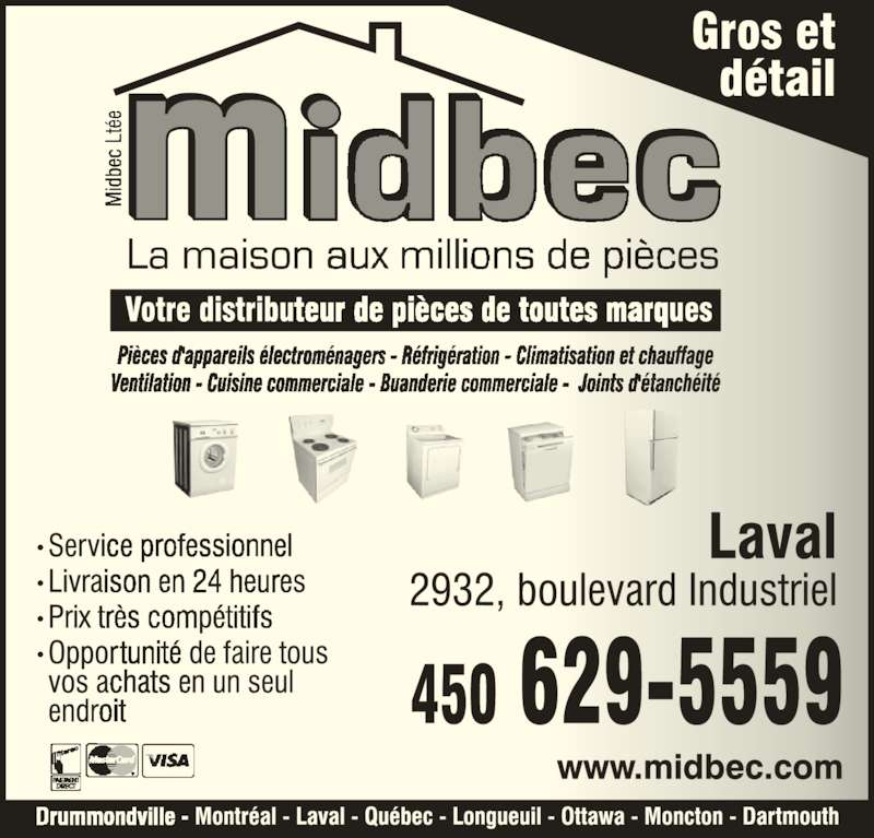 Midbec Ltée (450-629-5559) - Annonce illustrée======= -