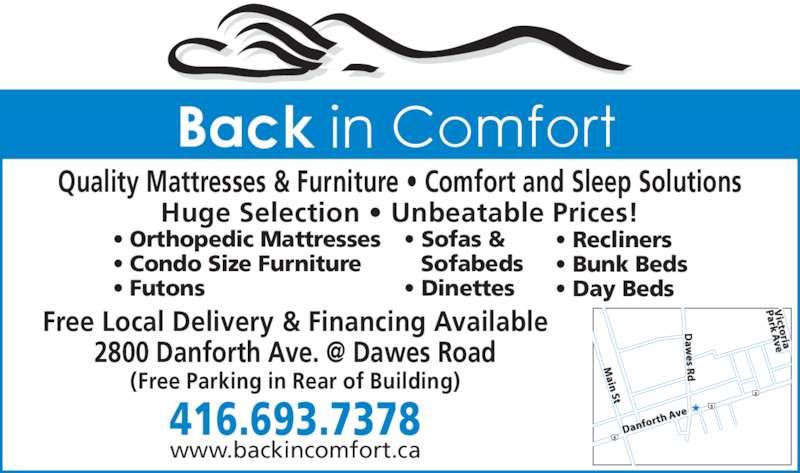 Back In Comfort (416-693-7378) - Annonce illustrée======= -