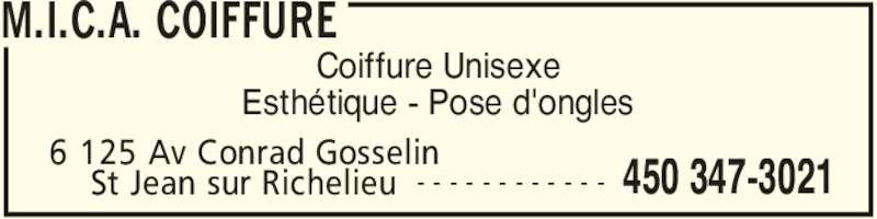 M.I.C.A. Coiffure (450-347-3021) - Annonce illustrée======= - 6 125 Av Conrad Gosselin  450 347-3021St Jean sur Richelieu - - - - - - - - - - - - Esthétique - Pose d'ongles M.I.C.A. COIFFURE Coiffure Unisexe
