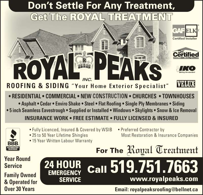 Royal Peaks Roofing Opening Hours 49 Highland Dr