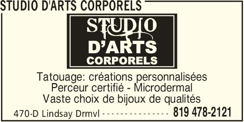 Studio d'Arts Corporels (819-478-2121) - Annonce illustrée======= - 470-D Lindsay Drmvl 819 478-2121- - - - - - - - - - - - - - - Tatouage: créations personnalisées Perceur certifié - Microdermal Vaste choix de bijoux de qualités STUDIO D'ARTS CORPORELS 470-D Lindsay Drmvl 819 478-2121- - - - - - - - - - - - - - - Tatouage: créations personnalisées Perceur certifié - Microdermal Vaste choix de bijoux de qualités STUDIO D'ARTS CORPORELS