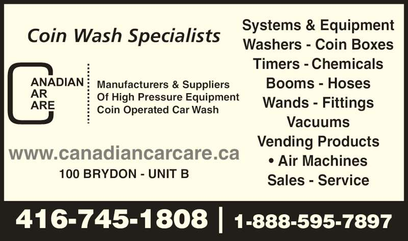 Classified Ad For Sale Car Wash Equipment: Canadian Car Care