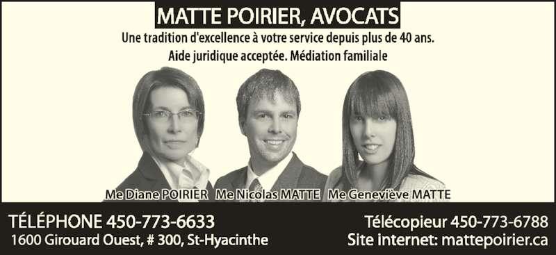 Matte Poirier Avocats (450-773-6633) - Annonce illustrée======= -