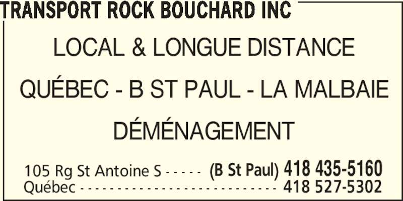 transport rock bouchard inc 105 rang saint antoine s baie saint paul qc. Black Bedroom Furniture Sets. Home Design Ideas