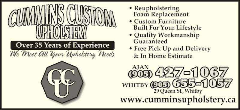 Cummins Custom Upholstery Opening Hours 29 Queen St Whitby On