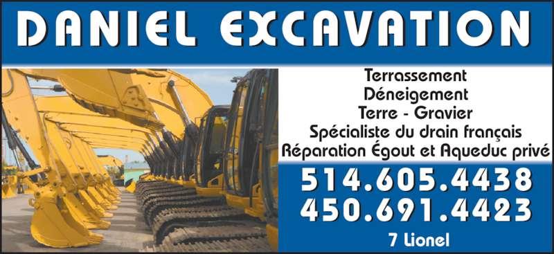 Daniel Excavation (514-605-4438) - Annonce illustrée======= -