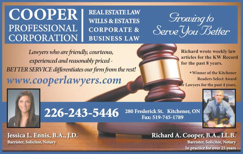 richard a cooper 519 579 2250 display ad 226 243 5446