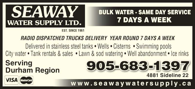 Seaway Water Supply Opening Hours 4481 Sideline 22 Claremont On