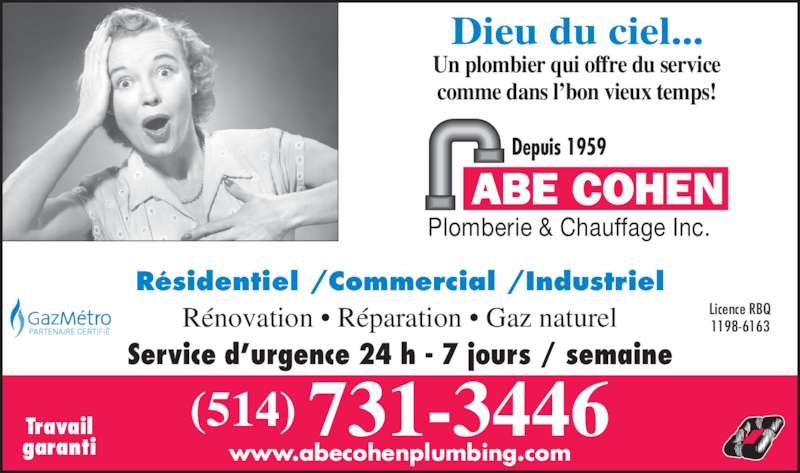 Ads Abe Cohen Plumbing & Heating Inc