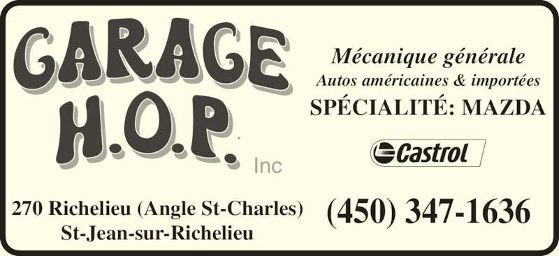 Garage h o p inc saint jean sur richelieu qc 270 rue for Garage ad st coulomb