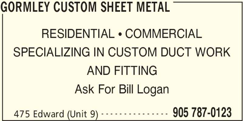 Gormley Custom Sheet Metal Richmond Hill On 475