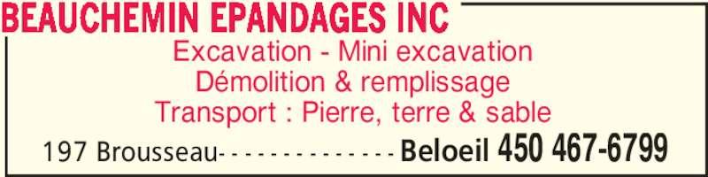Beauchemin Epandages Inc (450-467-6799) - Annonce illustrée======= -