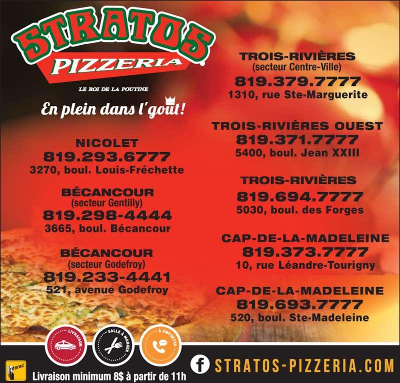 Pizzéria Stratos (819-379-7777) - Annonce illustrée======= -