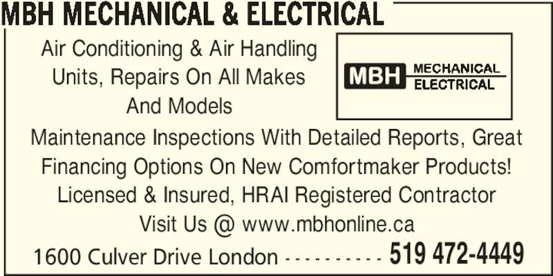 Mbh Mechanical Opening Hours 1600 Culver Dr London On