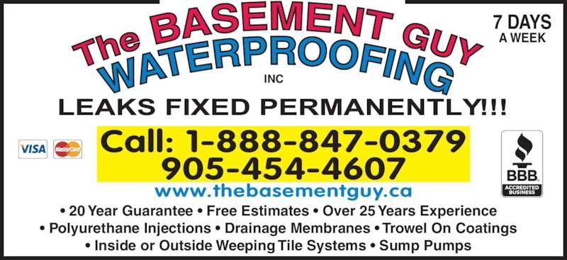 the basement guy waterproofing 905 454 4607 display ad 20