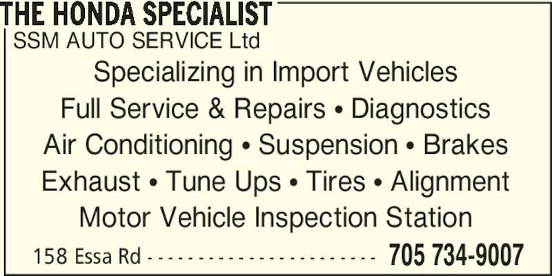 Ssm Auto Service Ltd Barrie On 158 Essa Rd Canpages
