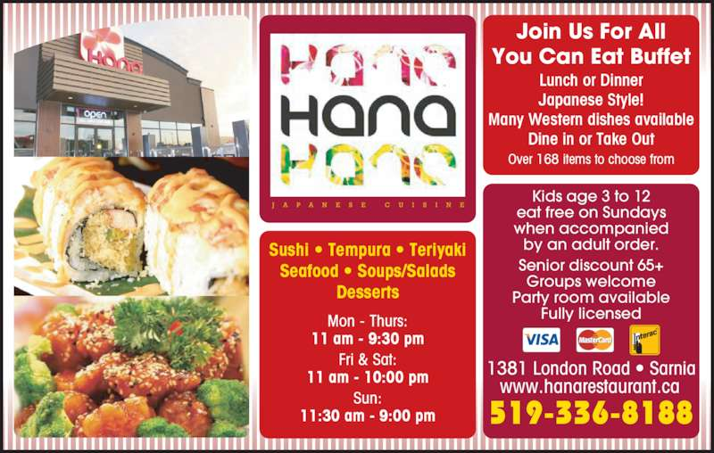 Hana japanese restaurant menu hours prices 1379 for Asian cuisine hours