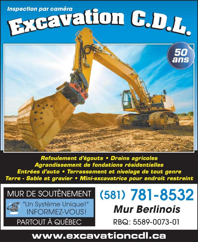 Excavation C D L (418-842-2052) - Annonce illustrée======= -