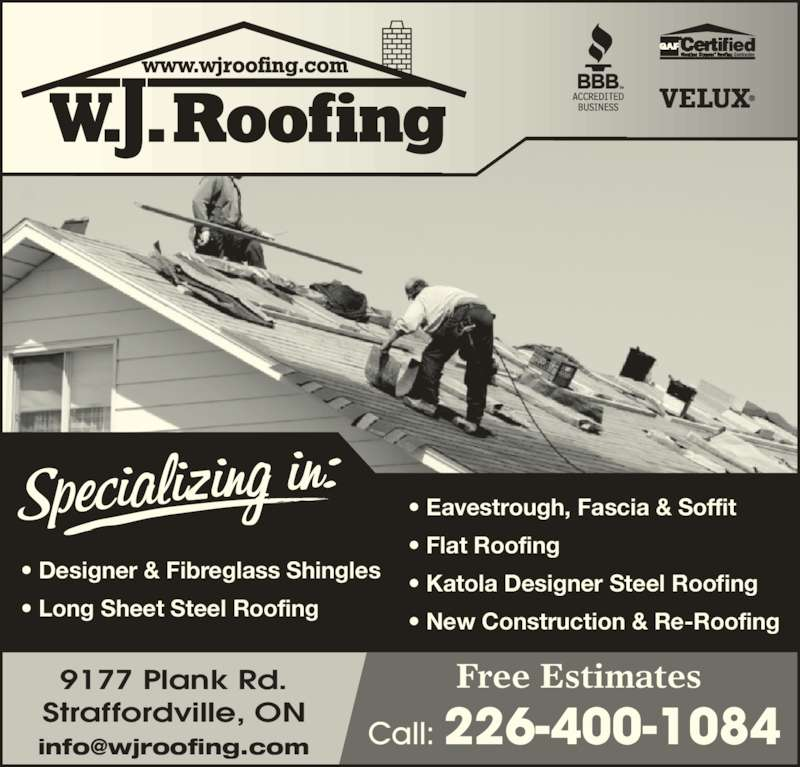 W J Roofing Ltd Opening Hours 9177 Plank Rd