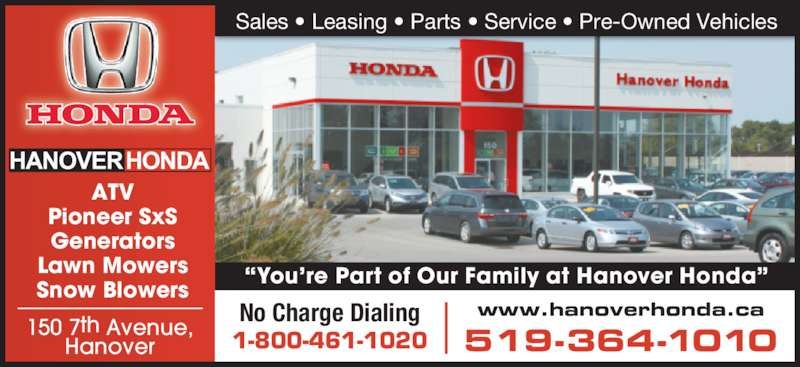 hanover honda opening hours 150 7th ave hanover on. Black Bedroom Furniture Sets. Home Design Ideas