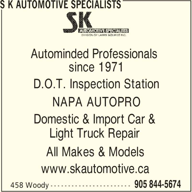 S K Automotive Specialists (905-844-5674) - Annonce illustrée======= -