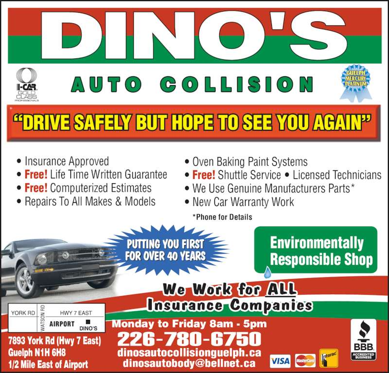 Dino S Auto Collision Guelph On 7893 York Rd Canpages