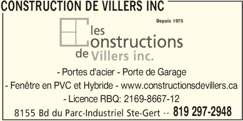 Construction de villers inc b cancour qc 8155 boul du for Futura porte et fenetre