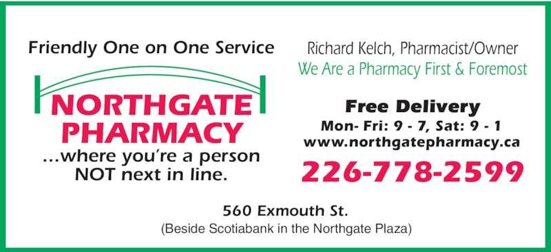 Northgate Pharmacy (519-344-8222) - Display Ad -
