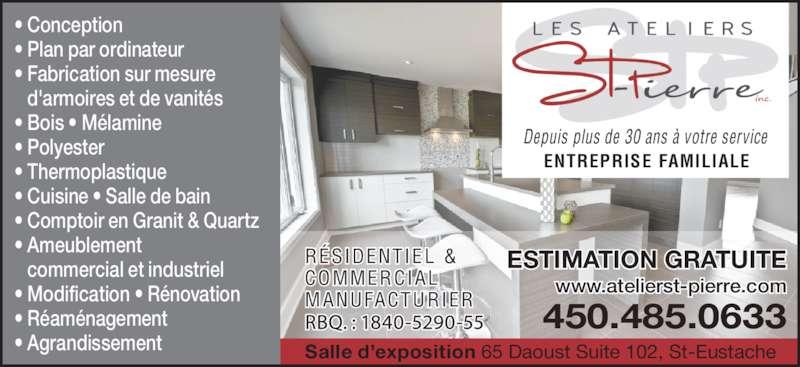 Les ateliers st pierre inc horaire d 39 ouverture 65 rue for Armoire de cuisine st eustache