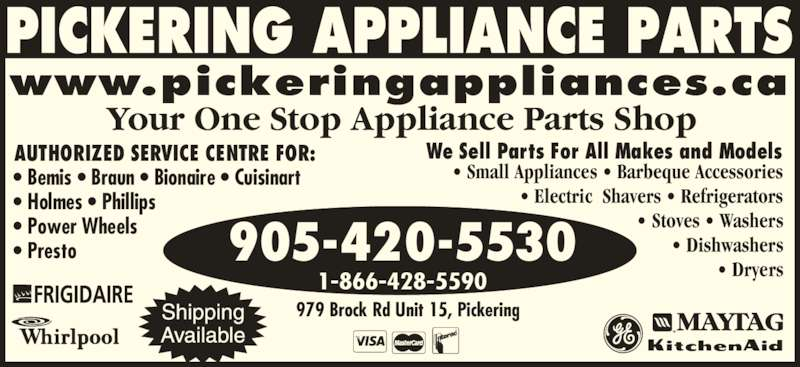 Pickering Appliance Parts Opening Hours 979 Brock Rd