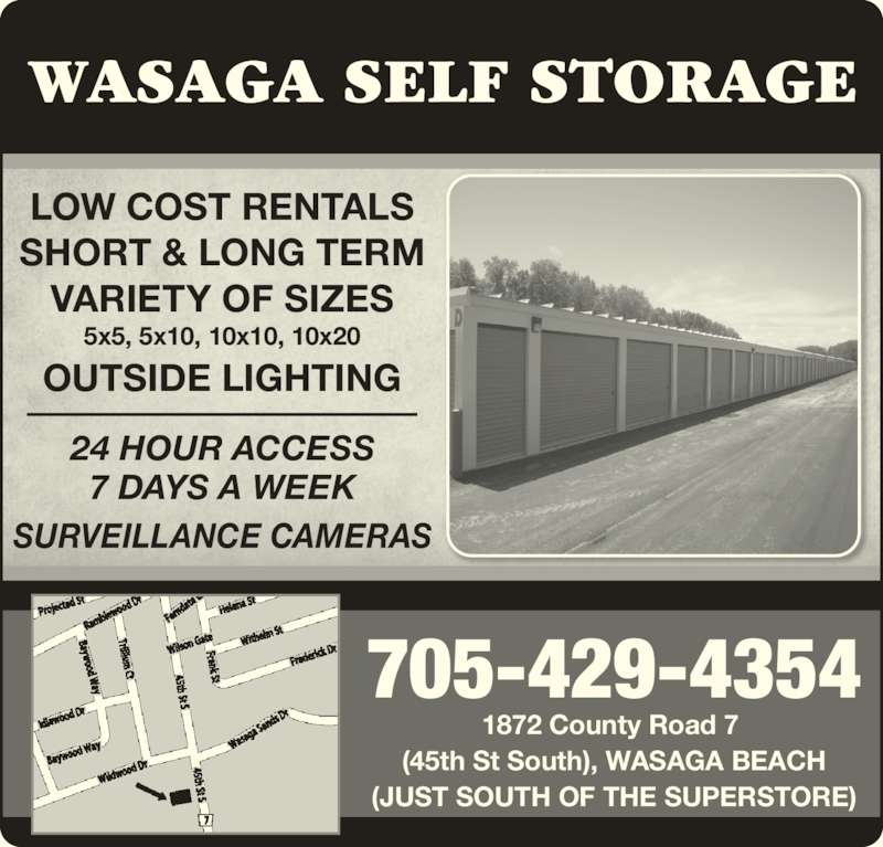 Wasaga Self Storage  Opening Hours  1872 County Rd 7