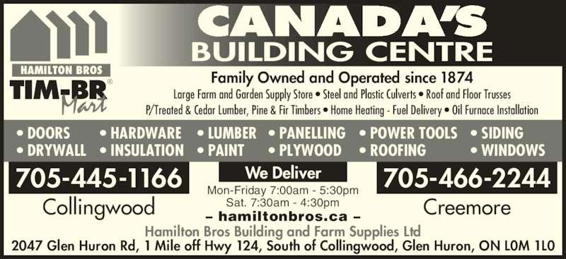 Hamilton Bros Farm Amp Building Supplies Ltd Timber Mart