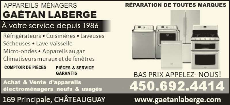 Appareils menagers gaetan laberge ch teauguay qc 169 for Electromenager chateauguay