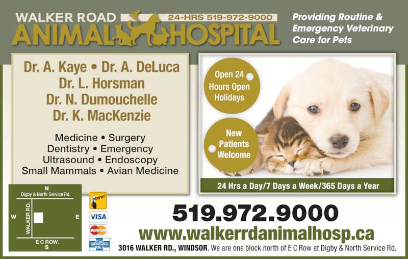 Walker Road Animal Hospital (519-972-9000) - Display Ad - 24-HRS 519-972-9000 24 Hrs a Day/7 Days a Week/365 Days a Year Open 24 Hours Open Holidays Patients Welcome Dr. A. Kaye • Dr. A. DeLuca Dr. L. Horsman Dr. N. Dumouchelle Dr. K. MacKenzie Medicine • Surgery Dentistry • Emergency Ultrasound • Endoscopy Small Mammals • Avian Medicine Providing Routine & Emergency Veterinary Care for Pets www.walkerrdanimalhosp.ca 3016 WALKER RD., WINDSOR. We are one block north of E C Row at Digby & North Service Rd.  R New .  E C ROW.  Digby & North Service Rd.