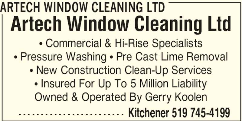 Construction Clean Up Services : Artech window cleaning ltd opening hours