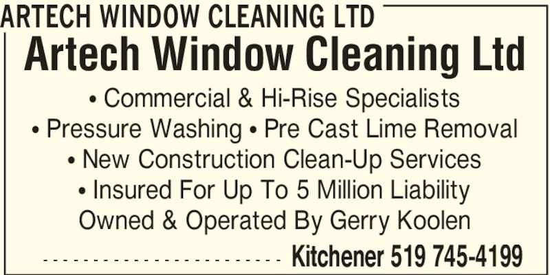 Artech Window Cleaning Ltd Opening Hours
