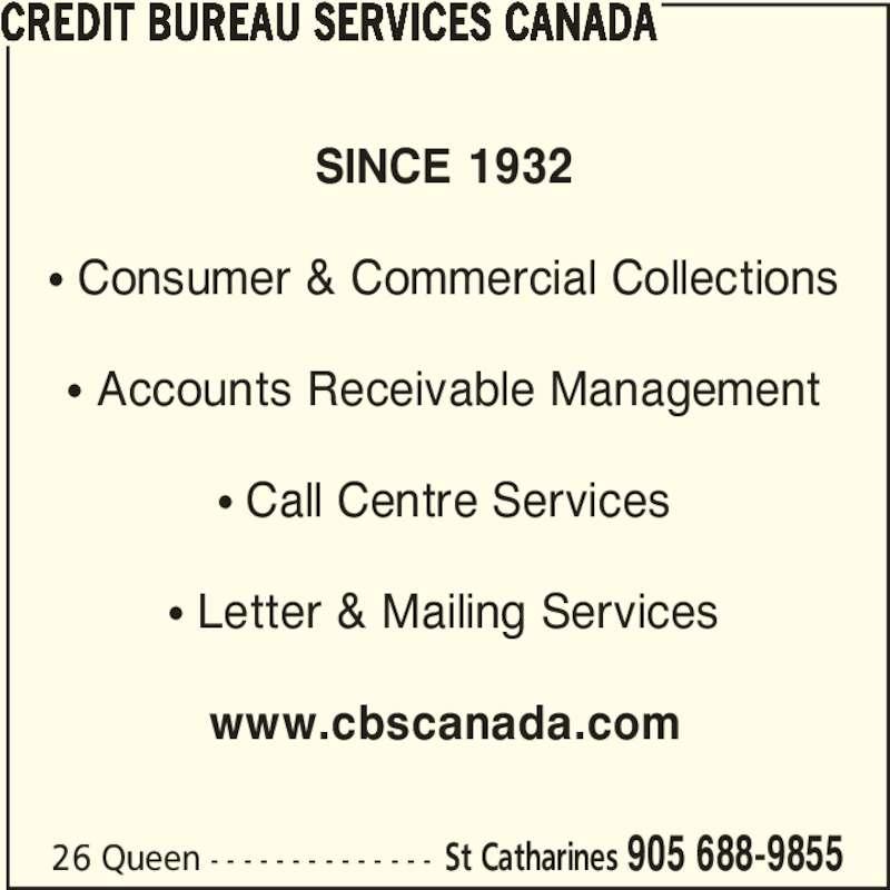 Credit bureau services canada st catharines on 26 for Bureau service canada