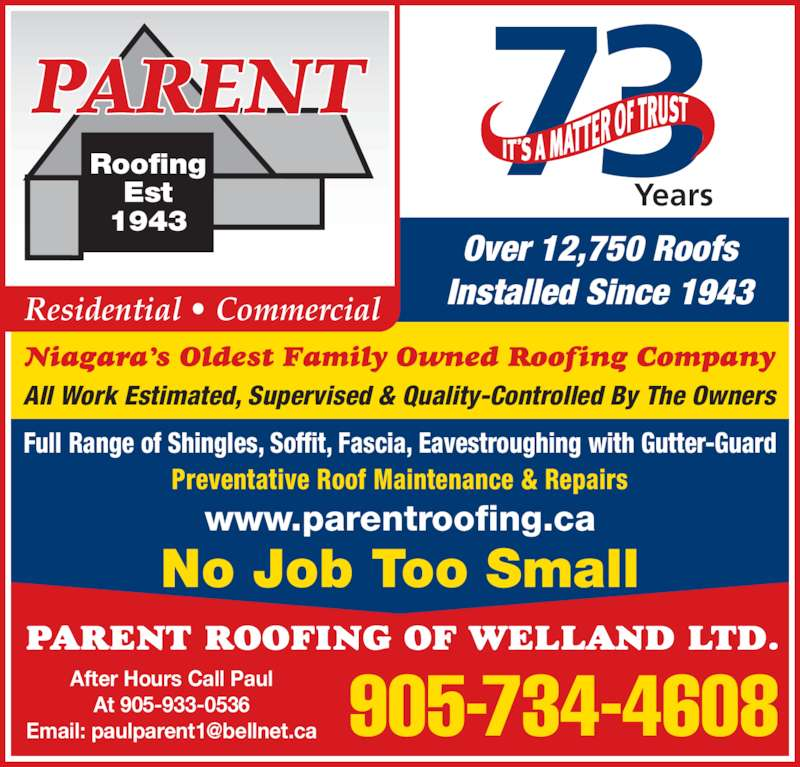 Parent Roofing Of Welland Ltd Opening Hours