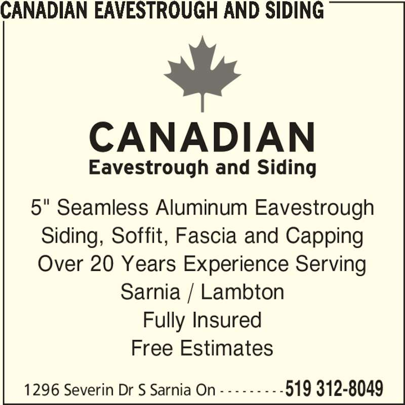 Canadian Eavestrough And Siding 1296 Severin Dr S