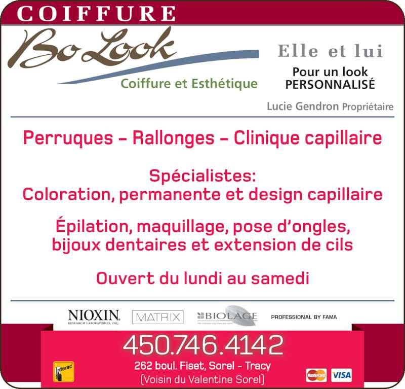 Salon beaut coiffure bo look horaire d 39 ouverture 262 for Salon de coiffure ouvert lundi