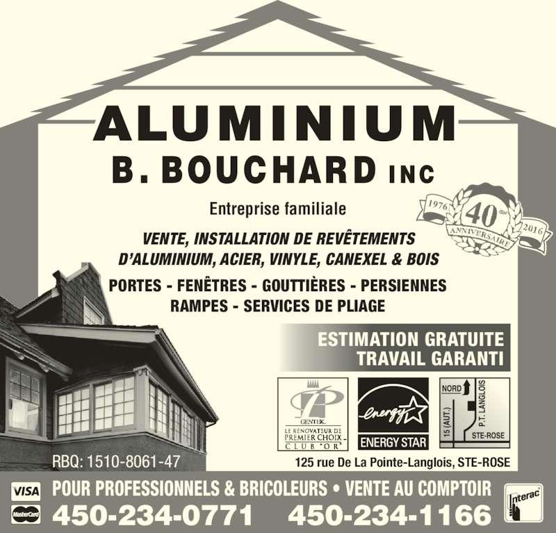 Aluminium b bouchard inc laval qc 125 rue de la for Porte fenetre futura laval