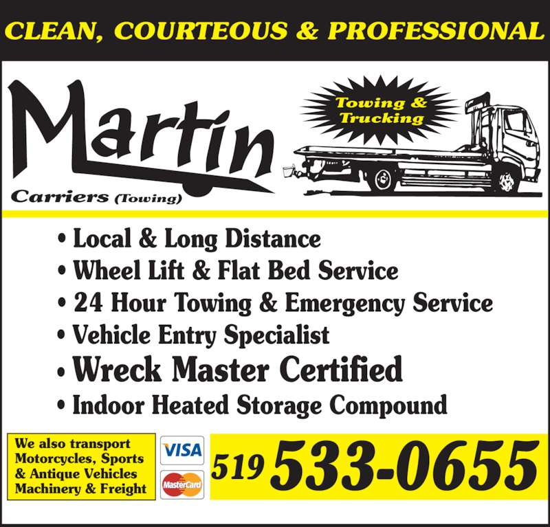 Martin towing woodstock on 1101 dundas st canpages for 24 hour tanning salon near me