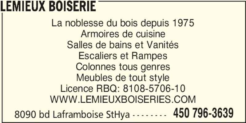 Lemieux Boiserie Horaire D 39 Ouverture 8090 Boulevard
