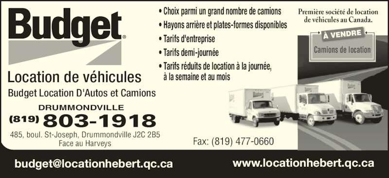 budget location d 39 autos et de camions 485 boul saint joseph drummondville qc. Black Bedroom Furniture Sets. Home Design Ideas