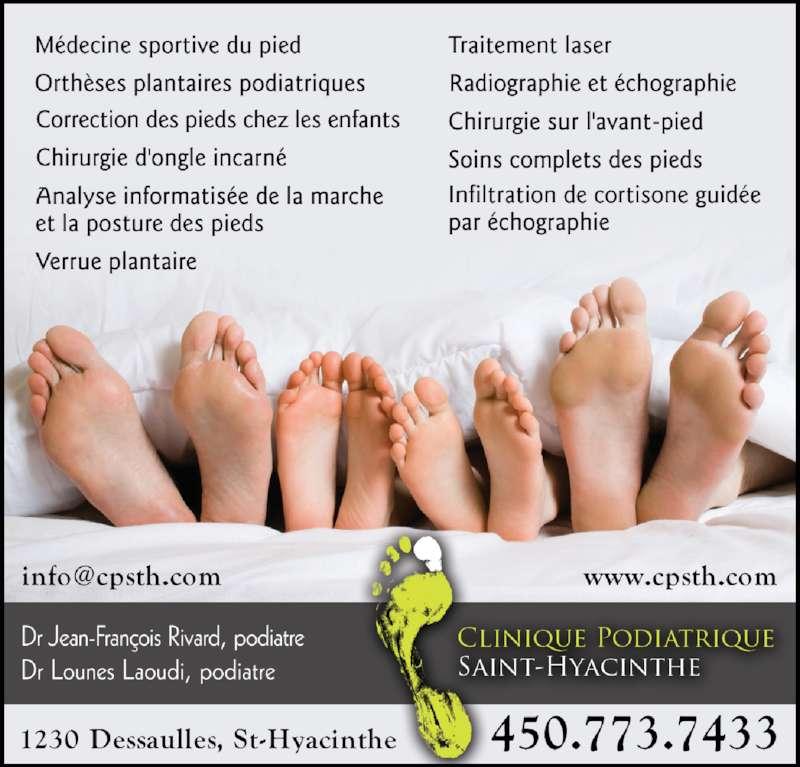 Clinique Podiatrique Saint-Hyacinthe (450-773-7433) - Annonce illustrée======= -