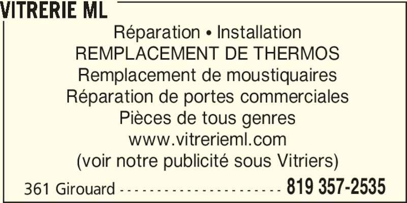 Vitrerie michel lavigne victoriaville qc 361 rue for Reparation de fenetre thermos