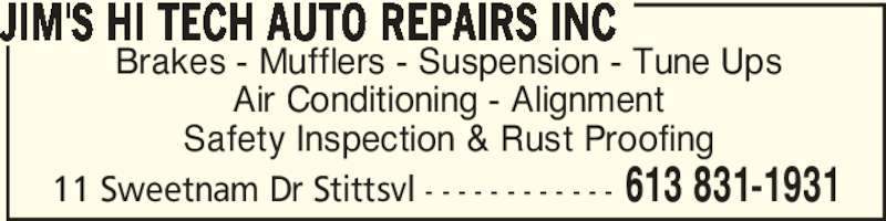 Jim's Hi Tech Auto Repairs Inc (613-831-1931) - Annonce illustrée======= -