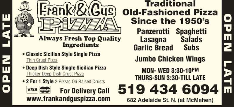 Frank & Gus Pizza Restaurant (519-434-6094) - Display Ad -